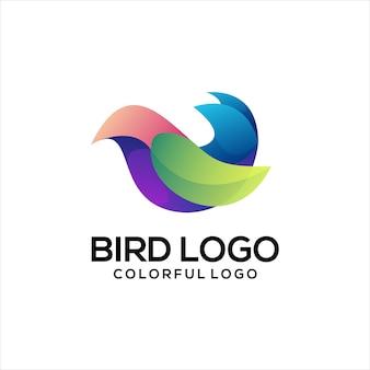 鳥のロゴのカラフルなグラデーションの抽象