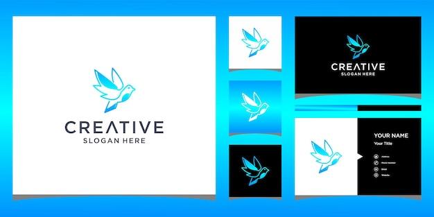 Дизайн логотипа птицы с шаблоном визитной карточки