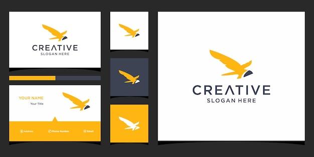 Дизайн логотипа птицы с шаблоном визитных карточек