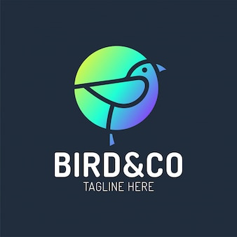 Bird logo design with circle shape concept template with linear concept style