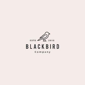 Bird logo hipster vintage retro vector line outline