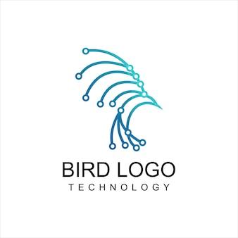 Bird logo line art technology