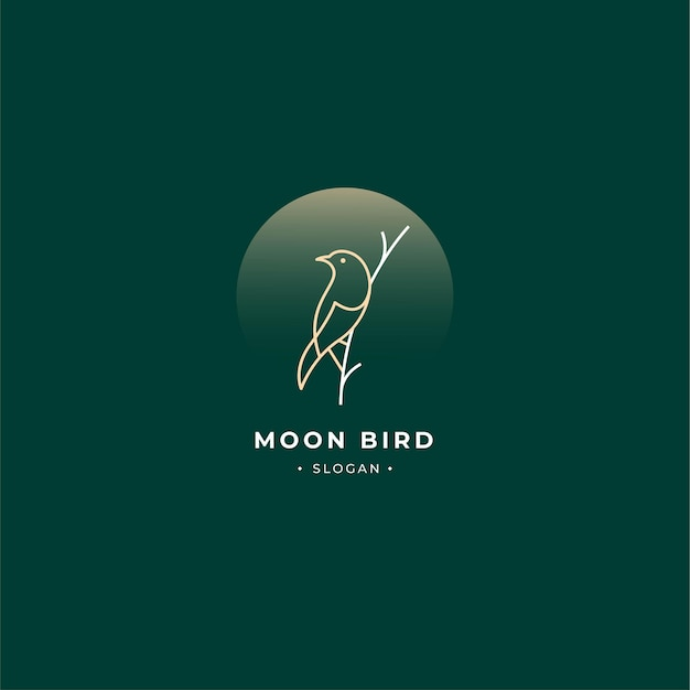 Bird logo outline branch and moon with vintage style isolated.