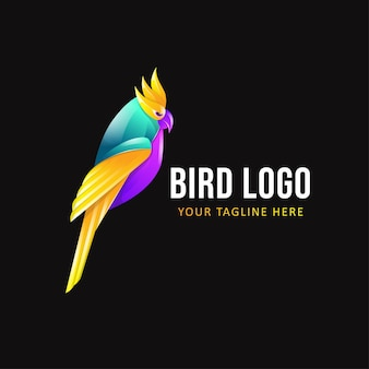鳥のロゴのテンプレート。カラフルな動物のロゴ