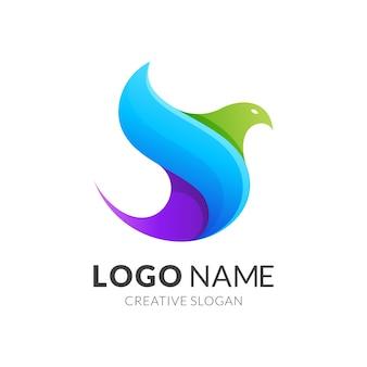 鳥のロゴのテンプレート、グラデーションの鮮やかな色でモダンなロゴのスタイル