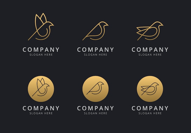 Bird logo template with golden style color for the company