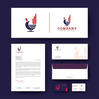 Bird logo with corporate stationery  template