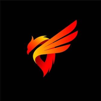 Логотип птицы с горячим элементом