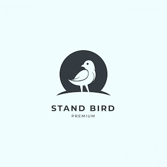 Bird logo with negative space.