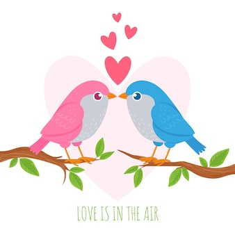 새 사랑. 나뭇가지에 있는 귀여운 새 애호가, 로맨스 커플, 결혼식 및 발렌타인 데이 기호, 휴일 장식 창의적인 벡터 개념. 사랑은 공기 인사말이나 초대 카드 디자인에 있습니다.