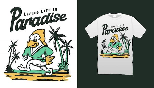 ビーチのtシャツデザインで鳥のマスコット