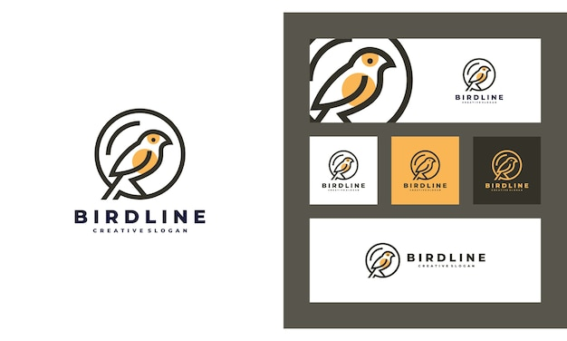 Bird minimalist creative simple logo design template