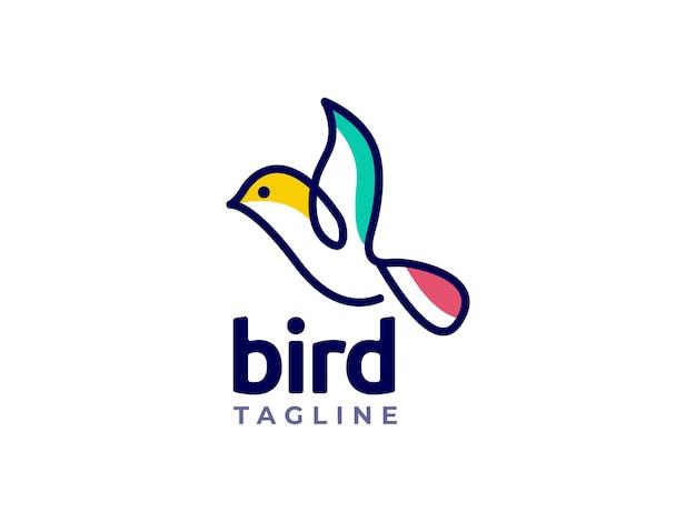 Bird mono line logo design concept