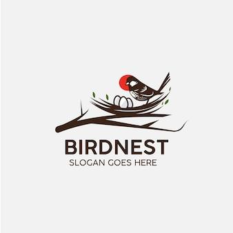 鳥の巣の動物のロゴ