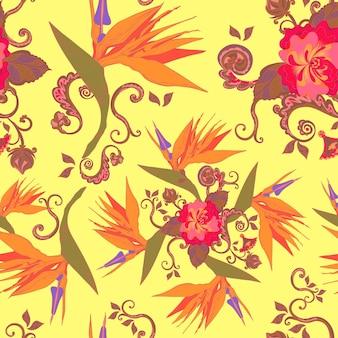 낙원 꽃 원활한 패턴 배경의 새