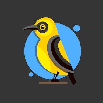 設計のためのブランチフラットスタイルロゴの鳥オリオール。