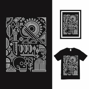 버드 패턴 티셔츠 디자인