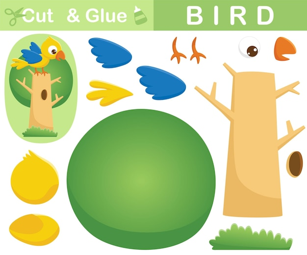 Bird perch on tree. education paper game for children. cutout and gluing.   cartoon illustration