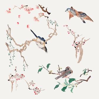 Bird perching on a tree vector art print set, remixed from artworks by hu zhengyan