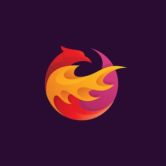 Bird phoenix tribal fire wing logo icon