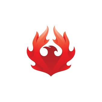 Bird phoenix with fire wing logo