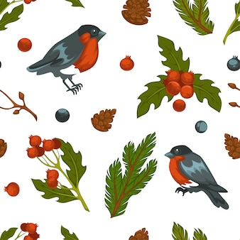 Bird and pine tree branches with evergreen needles, mistletoe and berries with cones seamless pattern. bullfinches seasonal flora and fauna in winter. wintertime season, xmas. vector in flat style