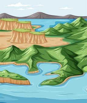 自然公園の風景シーンと鳥瞰図