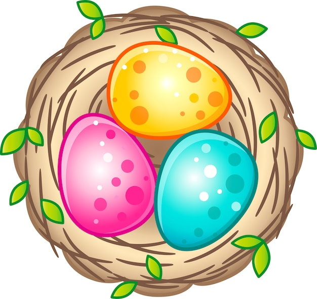 Bird's nest with bright easter eggs.   on a white background