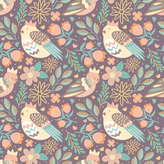 Bird seamless pattern with flower and nature leaves