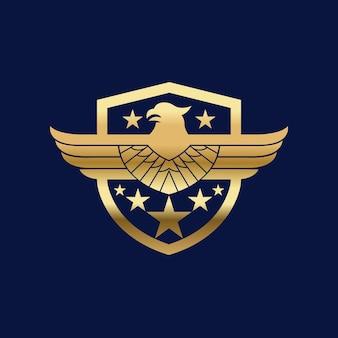 Птица щит орел ястреб логотип вектор значок иллюстрации