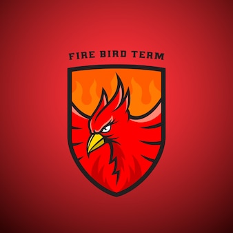 Bird in a shield  emblem or logo template. fire phoenix illustration.