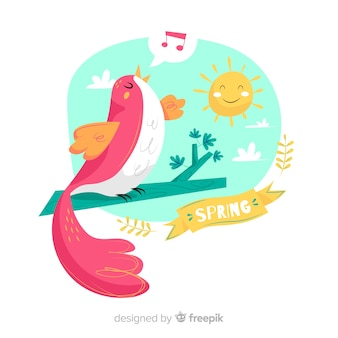Bird singing spring background