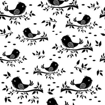 Bird sitting on a branch pattern, black stencil silhouette, textile, background, wallpaper