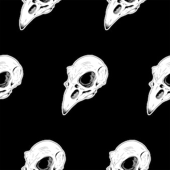 Bird skull seamless pattern