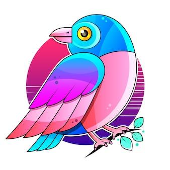 Иллюстрация птица на белом фоне. украшение, логотип. Premium векторы
