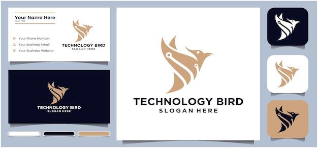 Bird technology logo vector modern tech bird logo robot logo design bird technology logo