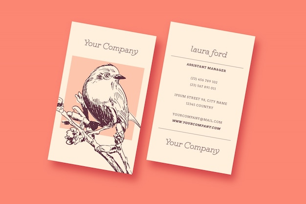 Bird vintage business card