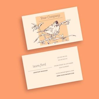 Птица винтаж визитная карточка