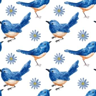 鳥の水彩画のシームレスなパターン