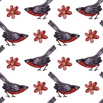 Птица акварель бесшовный фон