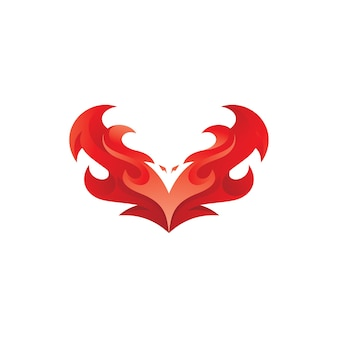 Bird wing fire phoenix logo