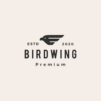 Птичье крыло битник старинный логотип значок иллюстрации