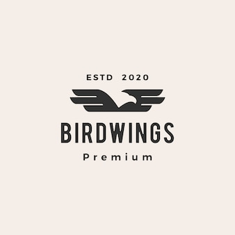 Bird wing hipster vintage logo icon illustration