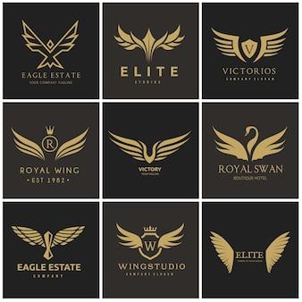 Bird and wing logo set
