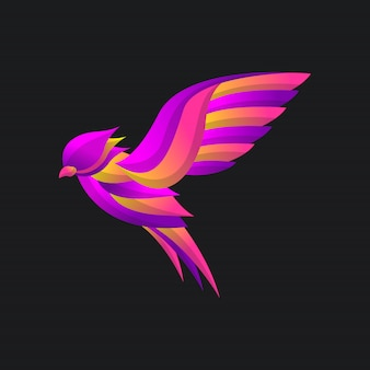 Bird wing logo  with colorful gradient style, elegant modern