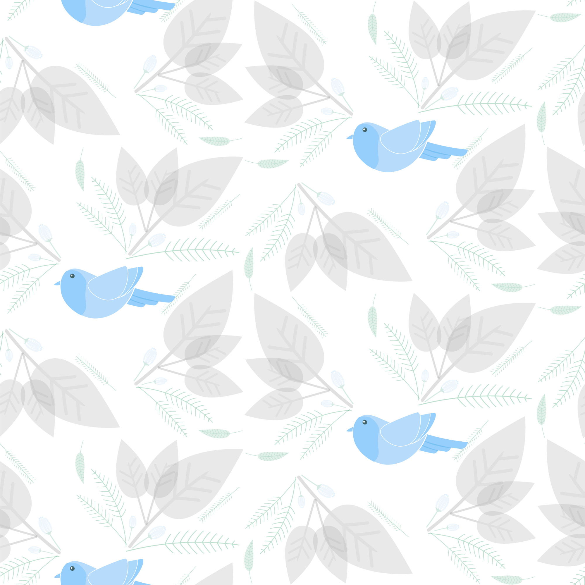 Bird with floral and leaf seamless pattern