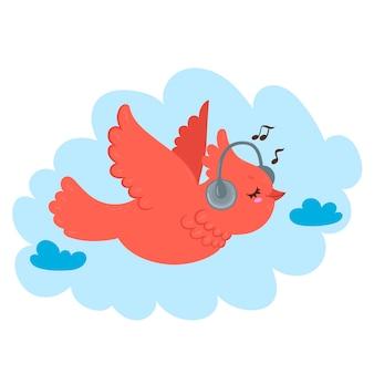 A bird with headphones flies in the sky.