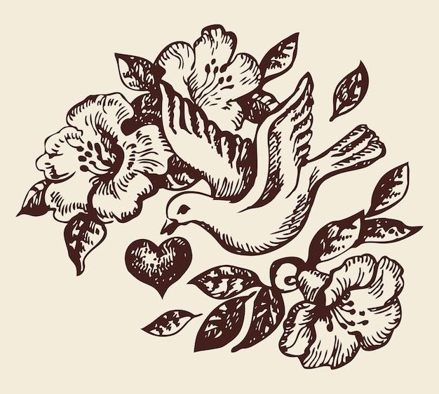 마음과 꽃 새입니다. 손으로 그린 그림