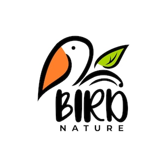Bird with a leaf illustration animal logo vector for any business related to children or animal