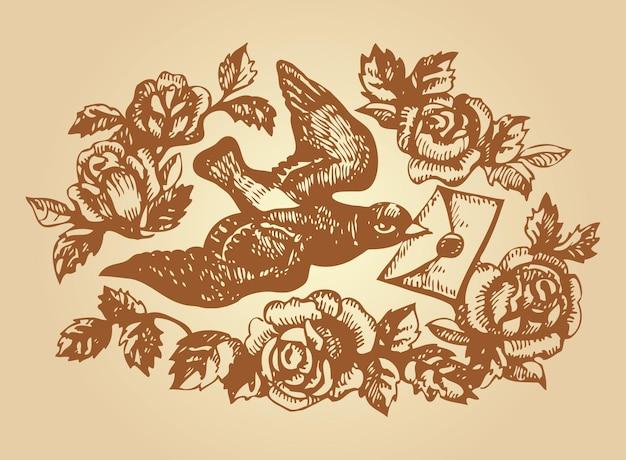 연애 편지와 꽃 새입니다. 손으로 그린 그림